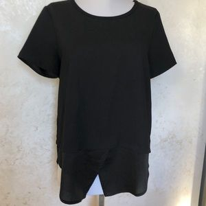 Ann Taylor Black Layered Look S/S Blouse